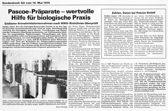 Anzeige Sonderdruck Zeitung 1974