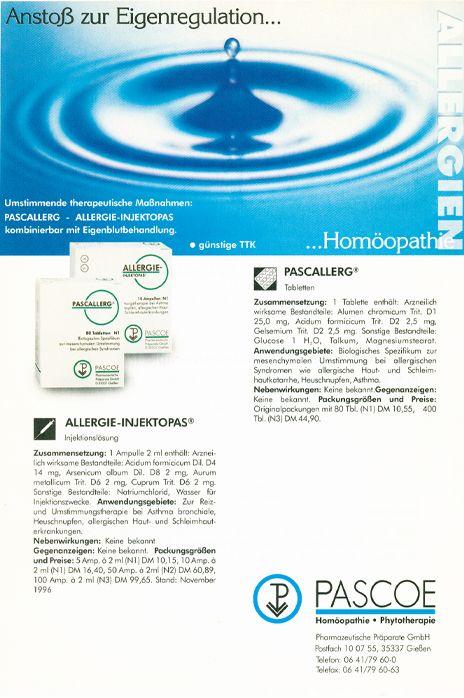 Historische Anzeige Allergien 1996