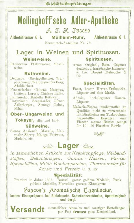 Geschäftsempfehlung der Mellinghoff'schen Adler-Apotheke