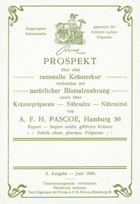 Prospekt von 1909 über Spezial-Kräutermischung Espekaëm